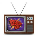 "Wooden vintage color TV with ""breaking news"" logo on the screen. TV has a wooden body, metallic buttons and antenna. Isolated on white background."